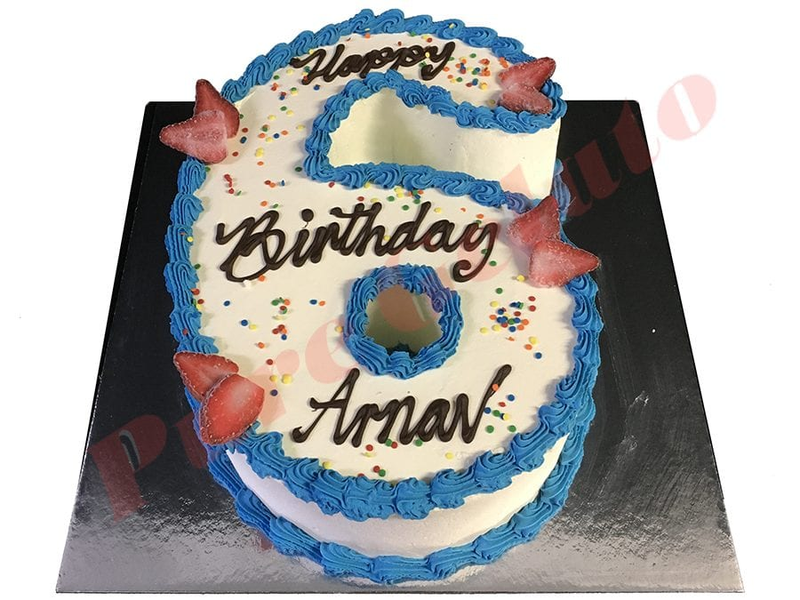 Numeral Cake 6 Smooth Cream blue piping+sprinkles