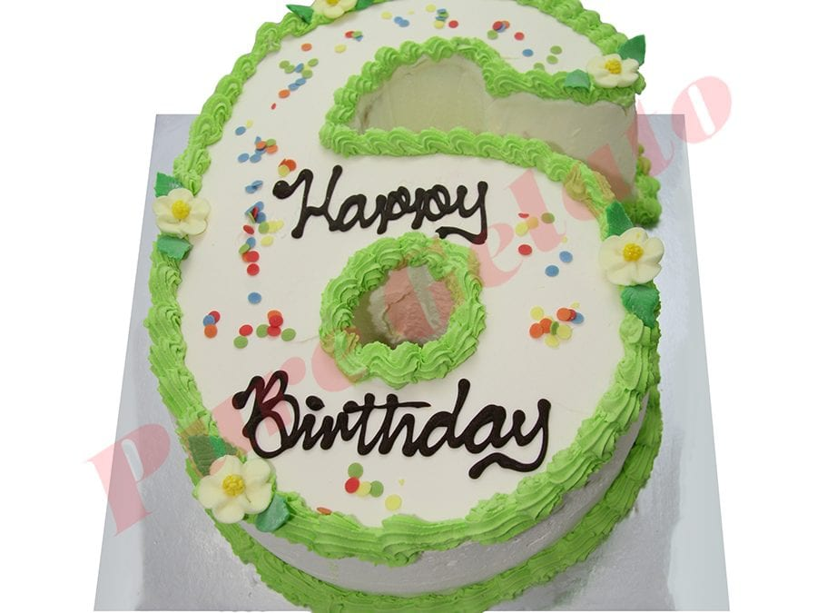 Numeral Cake 6 Smooth Cream Green piping+sprinkles