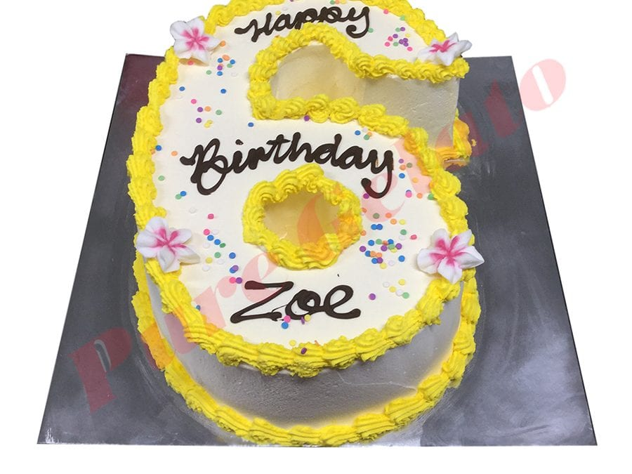 Numeral Cake 6 Smooth Cream yellow piping+Frangipanis