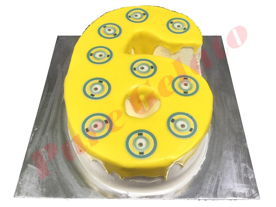 Numeral Cake 6 yellow Choc drip+Minion eyes scan