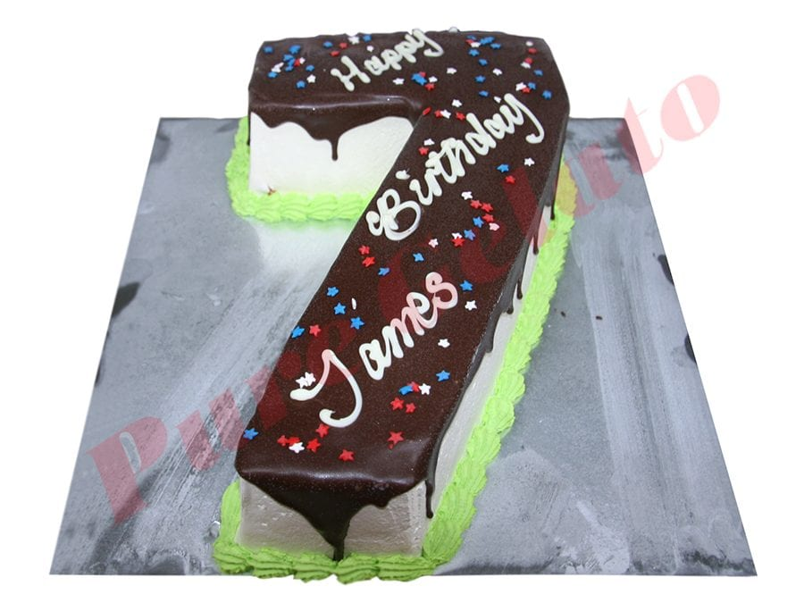 Numeral Cake 7 Choc drip green piping+star sprinkles