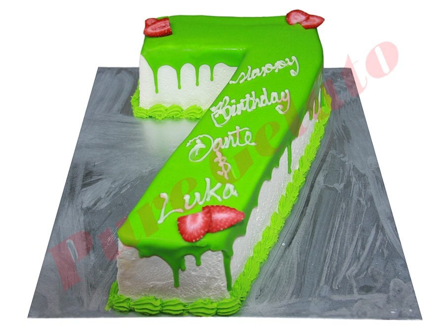 Numeral Cake 7 lime green Choc drip lime green piping