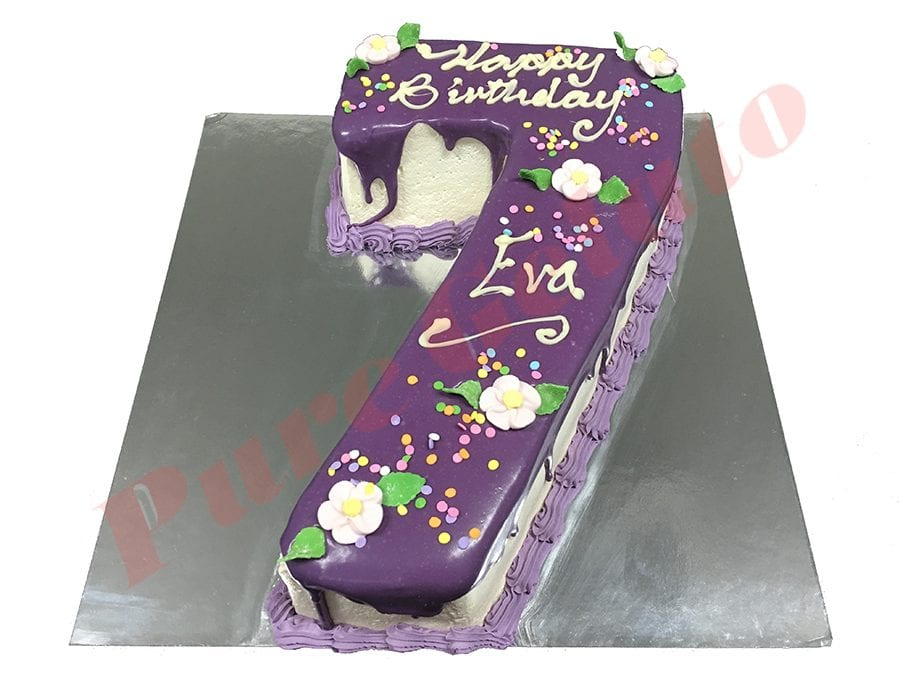 Numeral Cake 7 Purple Choc drip purple piping+sprinkles