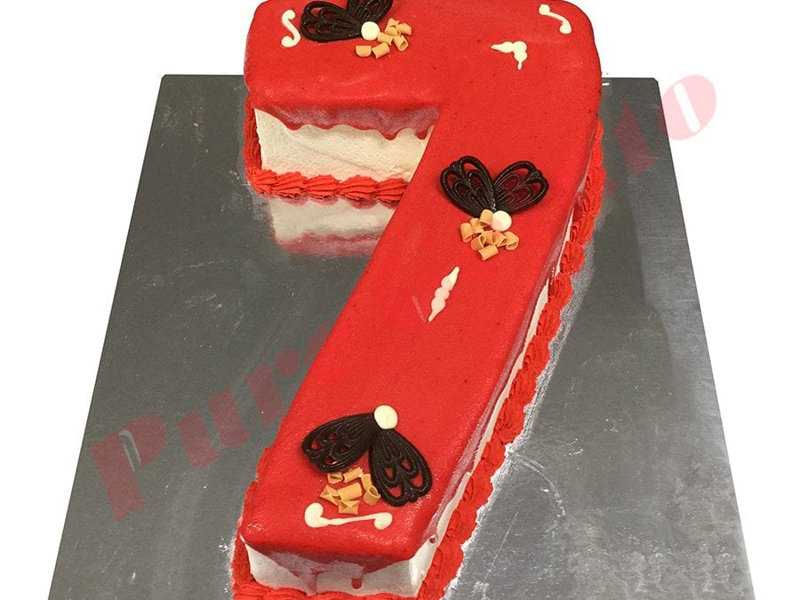 Numeral Cake 7 Red Choc drip Red piping+choc fans