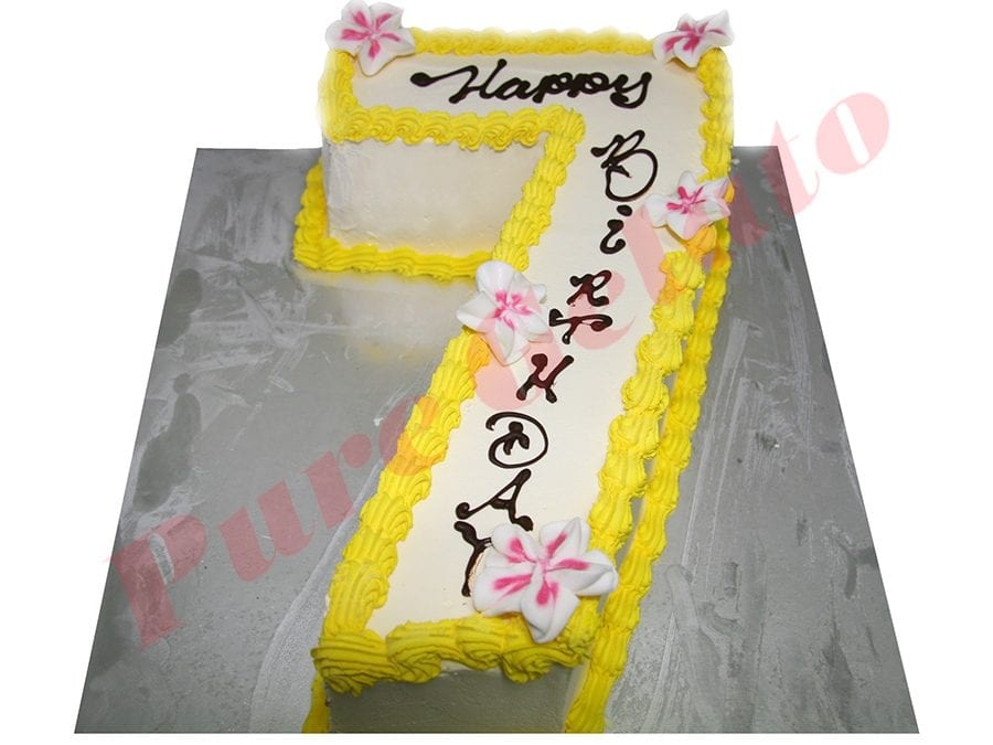 Numeral Cake 7 Smooth Cream yellow piping+Frangipani