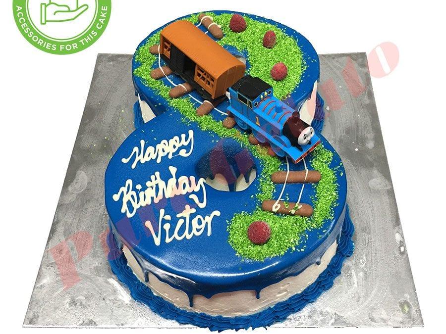 Numeral Cake 8 Blue Choc drip blue piping+Thomas Customers Acc