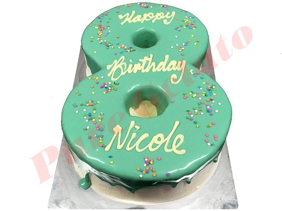 Numeral Cake 8 teal Choc drip+sprinkles