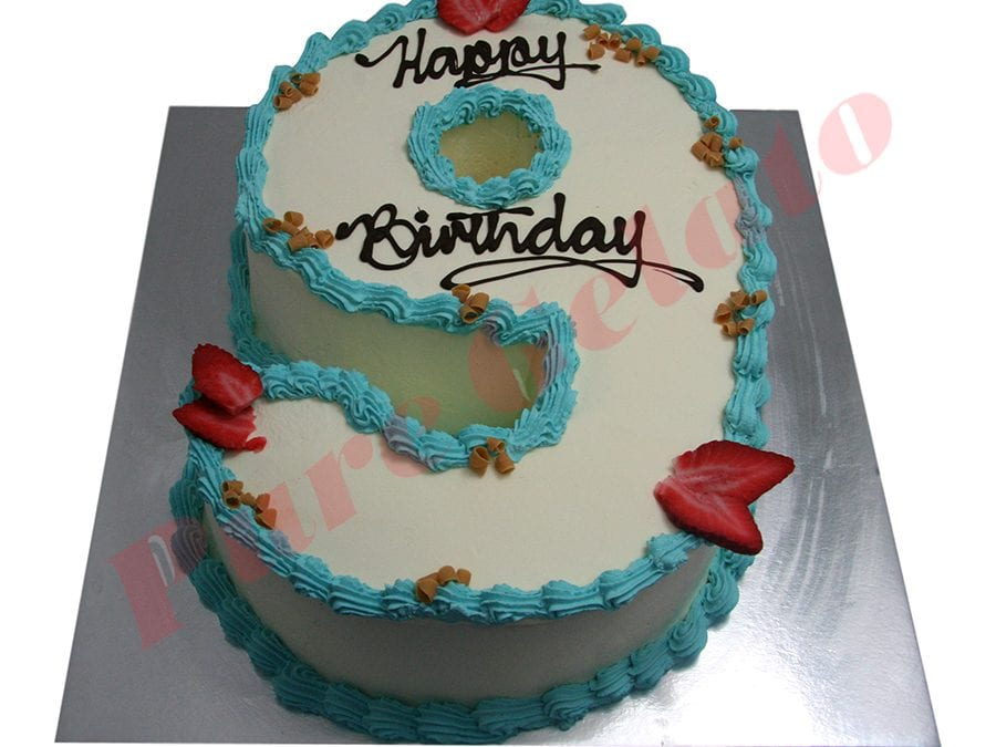 Numeral Cake 9 Smooth Cream light blue piping