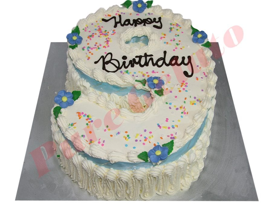 Numeral Cake 9 Traditional Decoration+Baby Blue ribbon