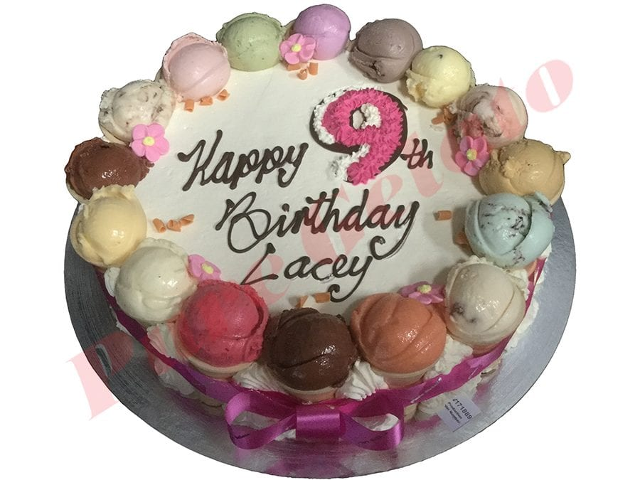 Scoop Cake edges only piped Pink Numeral and ribbon