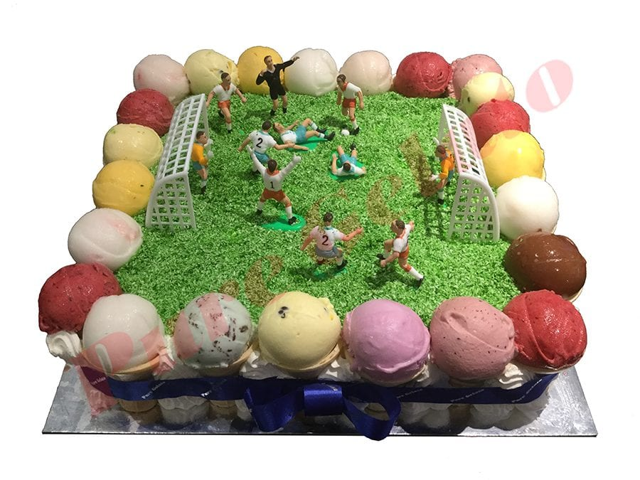 Scoop Cake edges only Sports Soccer Field blue ribbon