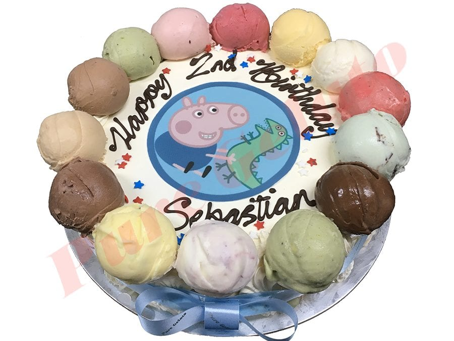 Scoop Cake edges only+Peppa pig scan baby blue ribbon