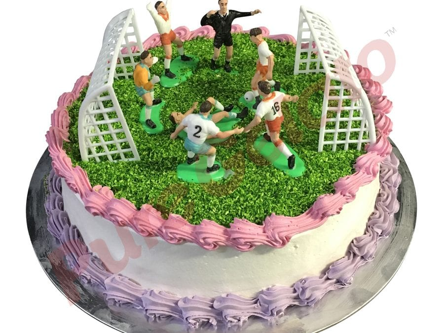 Sports Field Cake Round Full Soccer Field Pink+Purple Piping