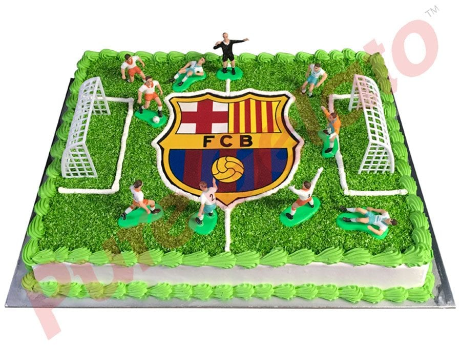 SPORTS FIELD CAKE RECTANGLE FULL FIELD BARCELONA LOGO