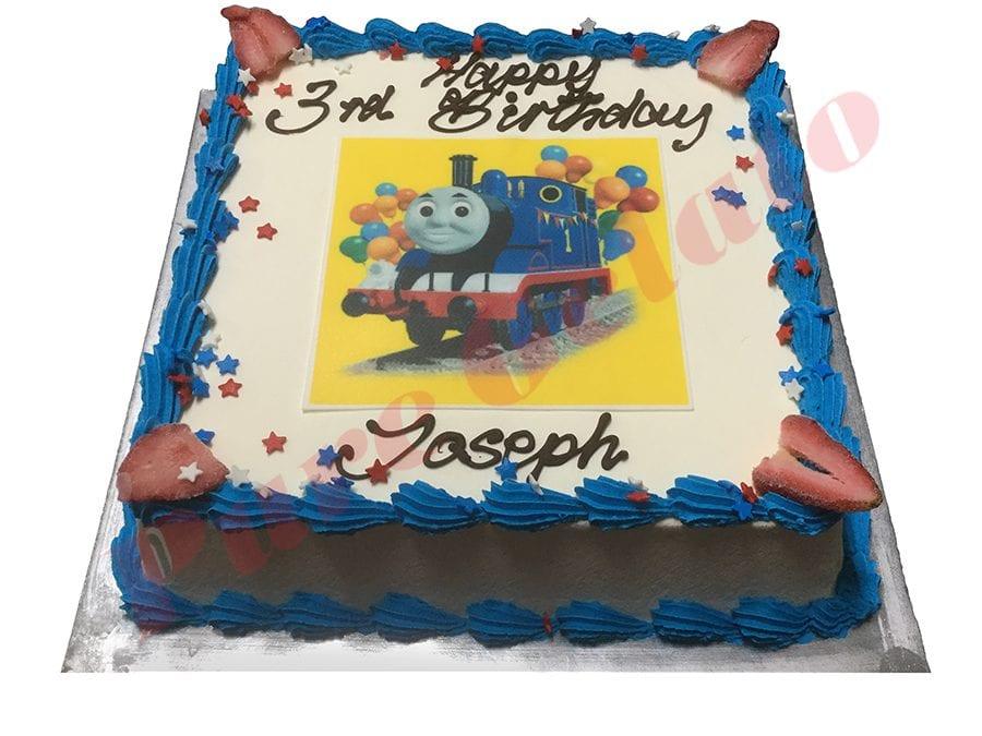 Train Cake Smooth Cream Blue Piping+Thomas Train Image