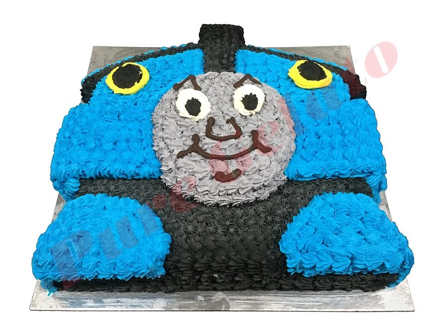 Train Cake Thomas Tank Themed Cream Piping all over.