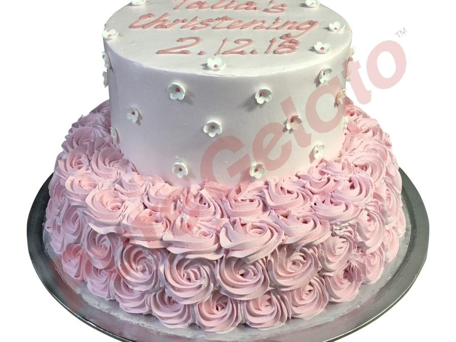 2 tier 3 stack baby pink smooth Cream pink rosettes White flowers