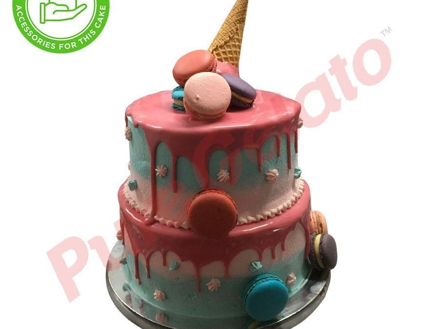 2 tier 4 stack 2 tone Cream pink choc drip upside down Cone Customers macaroons