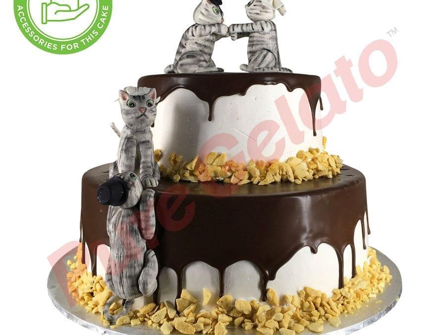 2 tier 4 stack Cake Choc Drip honeycomb edge+customer Acc