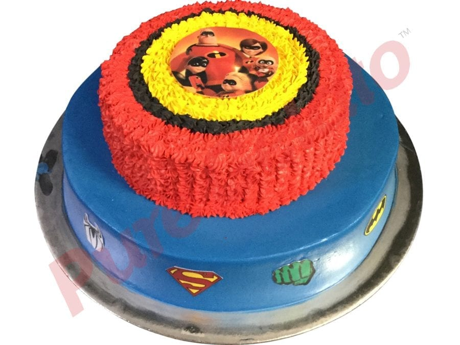 2 tier Blue smooth Cream red+Yellow piping images