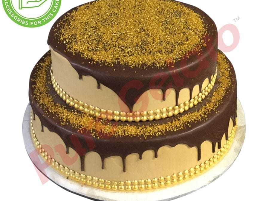 2 tier Cake Chocolate Drip gold sprinkles+customers gold acc