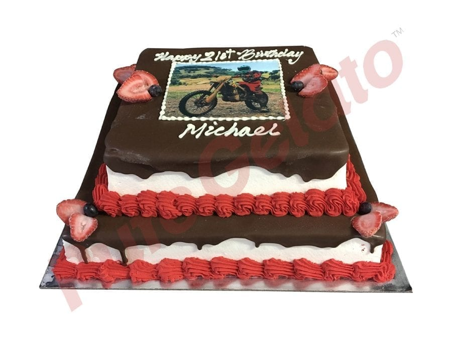2 tier Cake Chocolate Drip square+image+Red piping