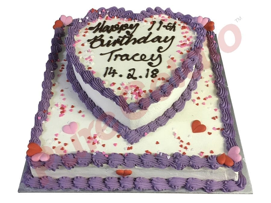 2 tier Cake Heart Smooth cream purple piping+heart sprinkles