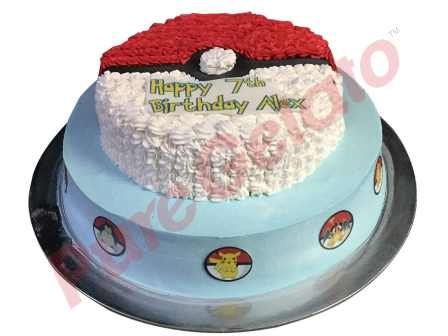2 tier Cake Pok+Âmon themed smooth Cream piped ball+images