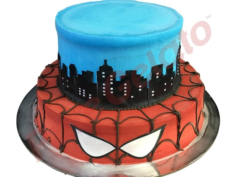 2 tier Cake Spider Man themed smooth Cream+images