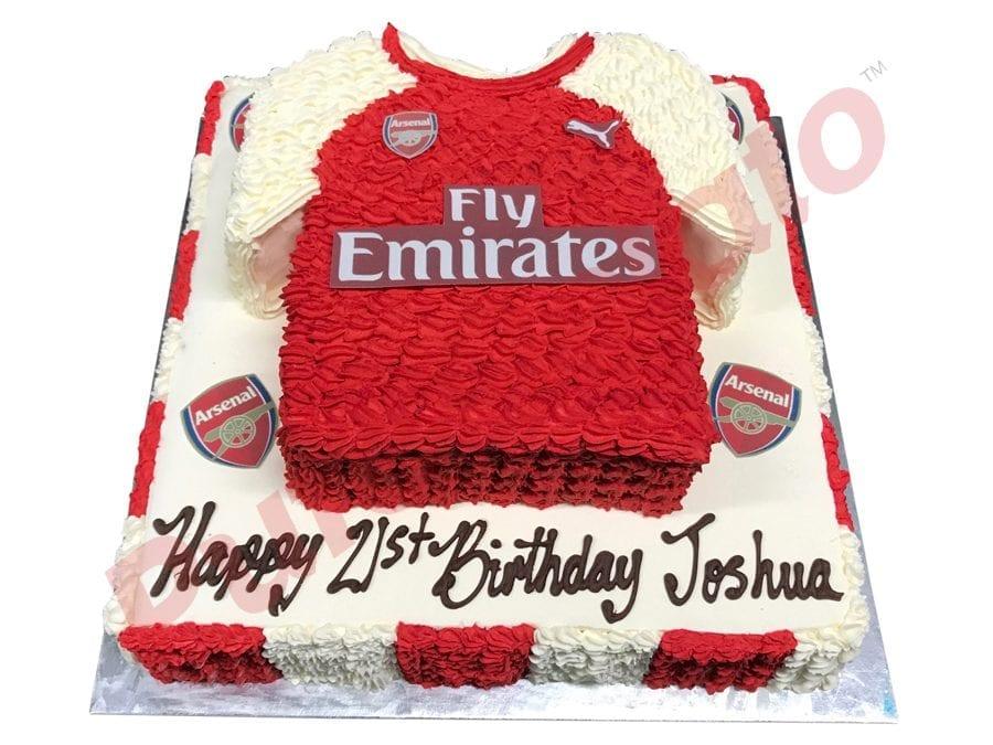 2 tier Cake Square Arsenal jersey+logo images