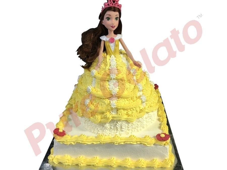 2 tier Cake Square Base Belle Doll White+yellow Cream