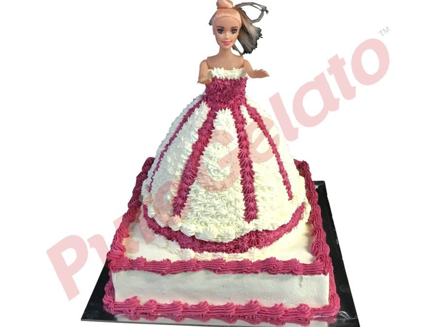 2 tier Cake Square Base Doll White+hot pink Cream