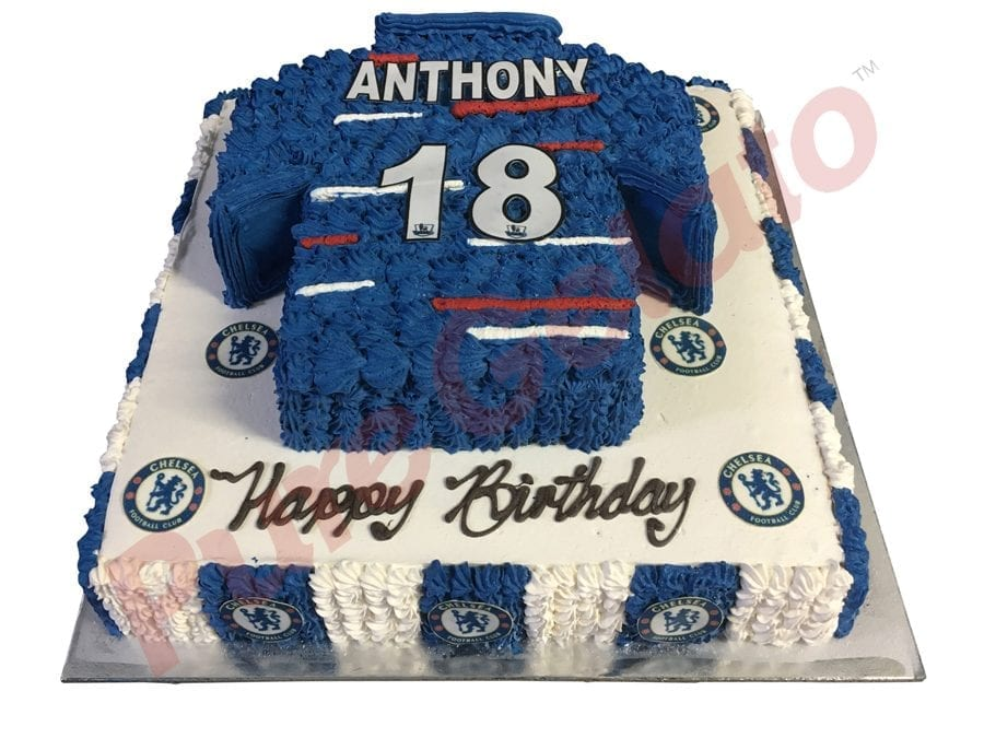 2 tier Cake Square+Chelsea jersey logo images
