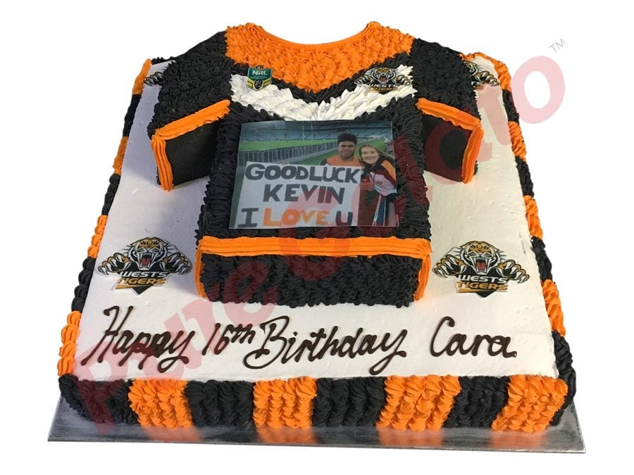 2 tier Cake Square+Tigers jersey logo images