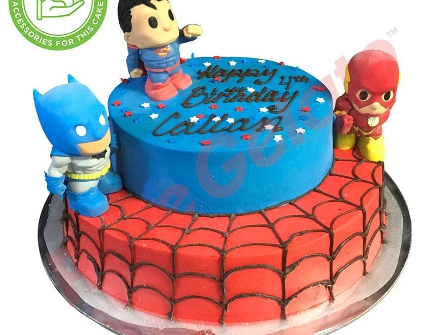 2 tier Cake Superhero smooth Cream+customer supplied acc