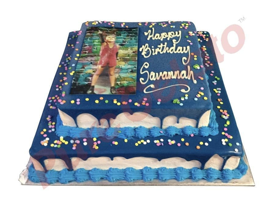 2 tier Cake blue Choc Drip square+image+blue piping