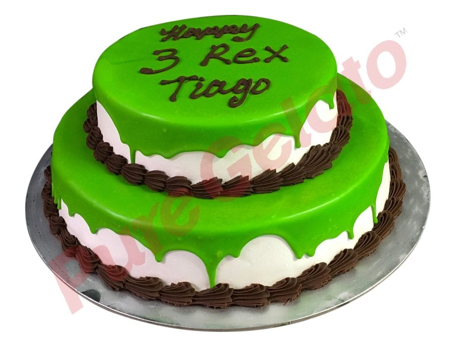 2 tier Cake green Choc Drip chocolate piping