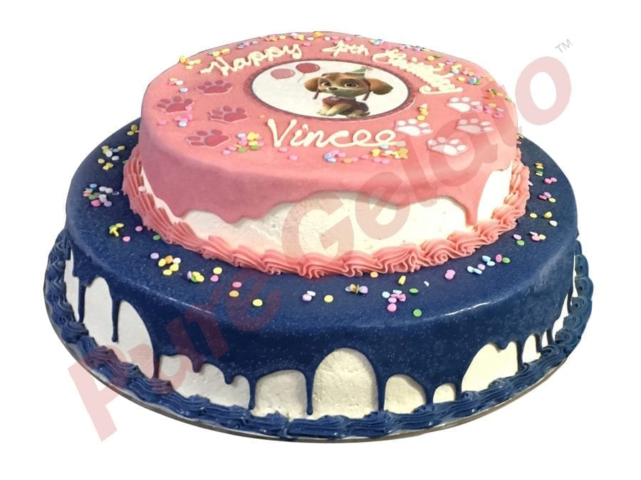 2 tier Cake pink and blue Choc Drip+image Pink+blue piping