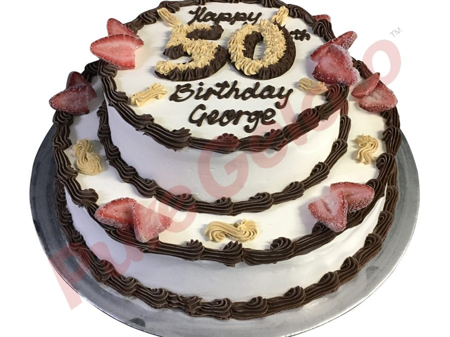 2 tier Cake round smooth Cream choc piping gold 50