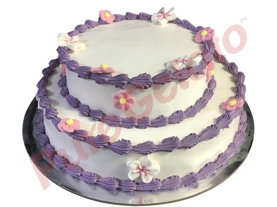 2 tier Cake round smooth Cream purple piping+flowers