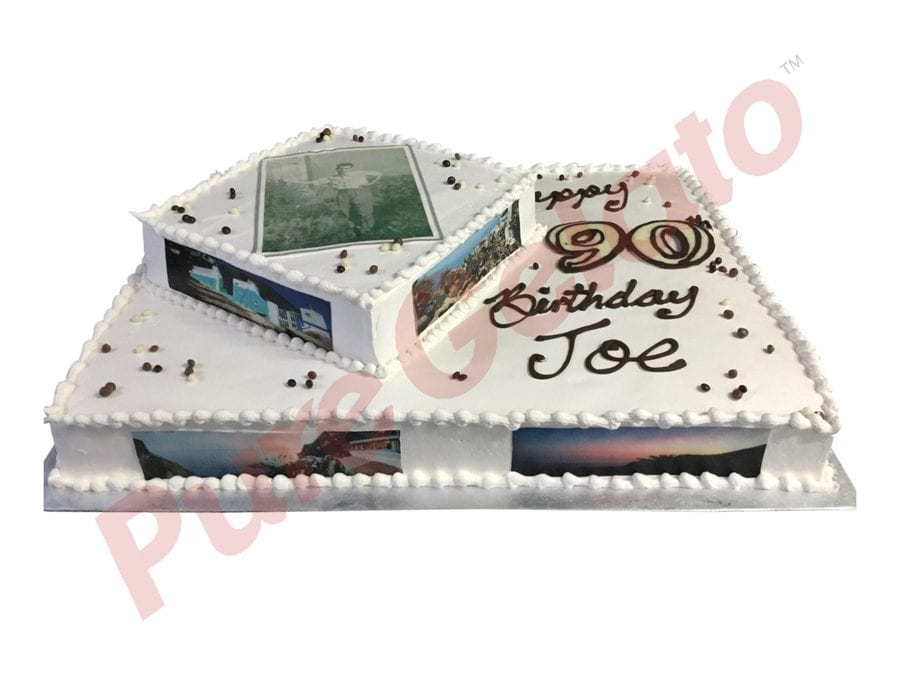 2 tier Cake smooth Cream white piping rectangle square+side images