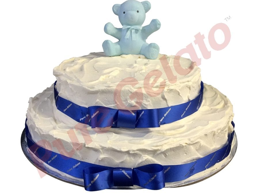 2 tier Cake spatula finish white Cream+Blue ribbon+bear