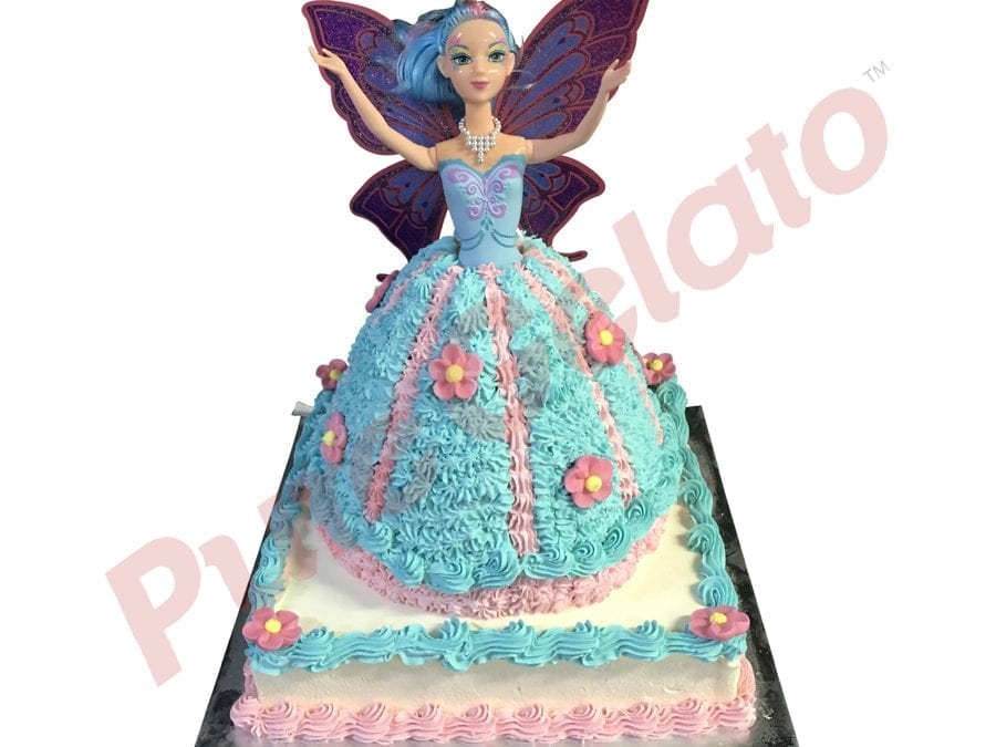2 tier Cake square base+Fairy Doll teal pink