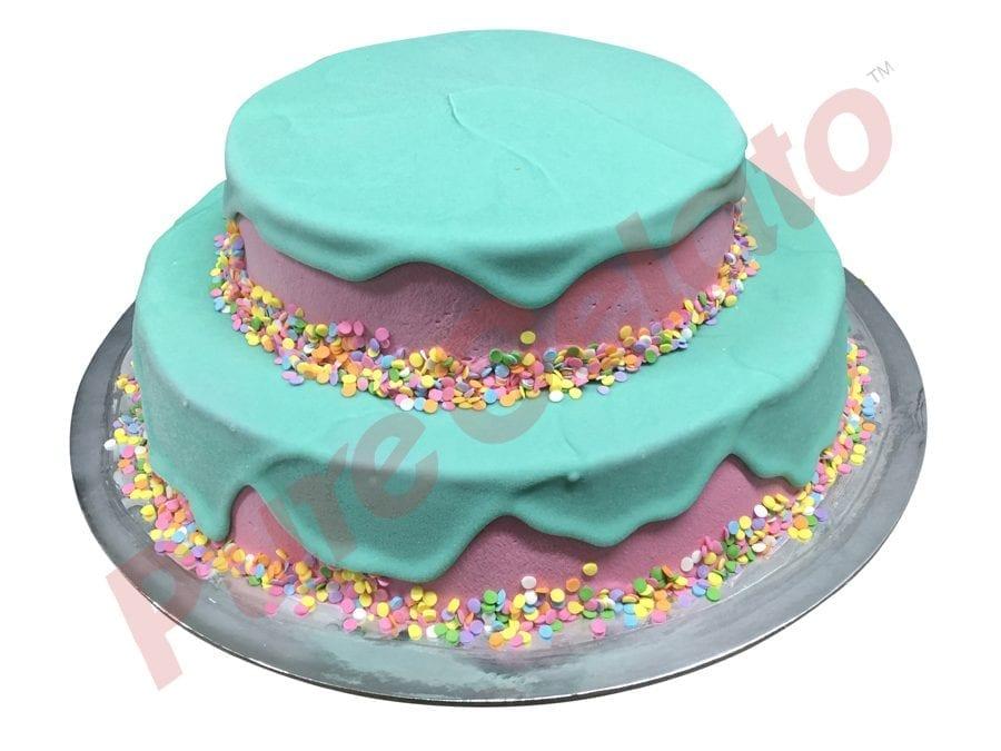 2 tier Cake teal Choc Drip pink Cream+sprinkles