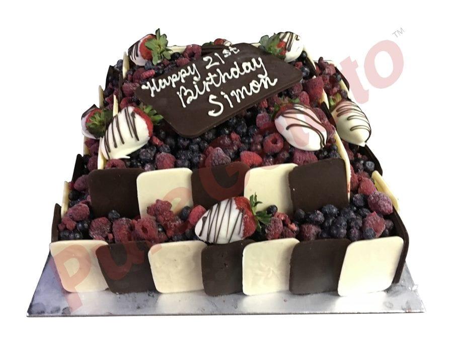 2 tier Chocolate Berry square