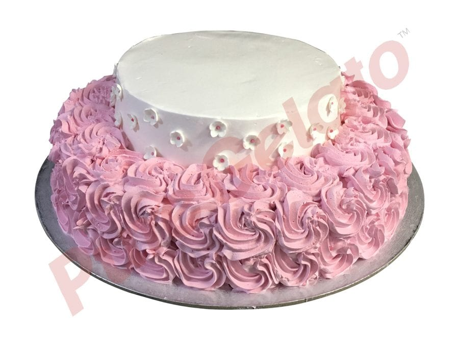 2 tier baby pink smooth Cream pink rosettes White flowers