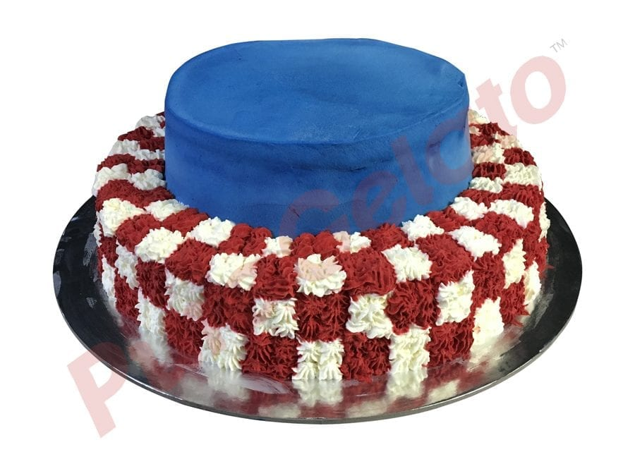 2 tier blue smooth Cream red+white check piping