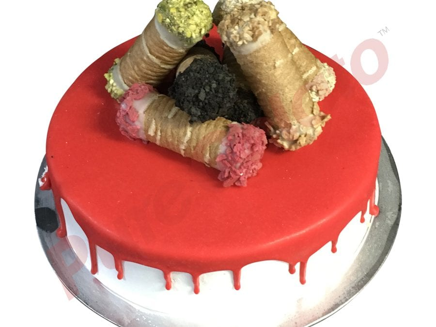 Cannoli Gelato Cake Red Choc Drip