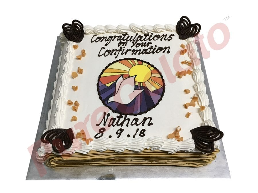 Closed Bible Confirmation cake gold Cream pages+dove round image
