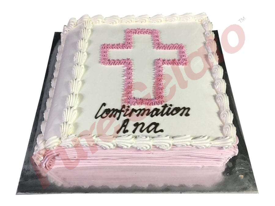 Closed Bible Confirmation cake pink Cream pages pink piped Cross